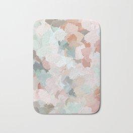 Blush Pink Mint Green Blue Coral Peach Abstract Flower Wall Art Springtime Painting Modern Wall Art Bath Mat