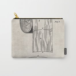 Toilet Paper Patent - Bathroom Art - Antique Carry-All Pouch