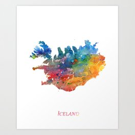 Iceland Map Watercolor by Zouzounio Art Art Print