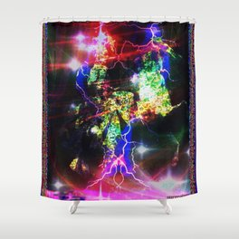 """""""Haunted Galactic Rider"""" by surrealpete Shower Curtain"""