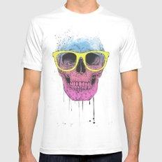 Pop art skull with glasses Mens Fitted Tee MEDIUM White