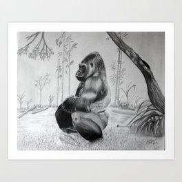 Zen gorilla  Art Print