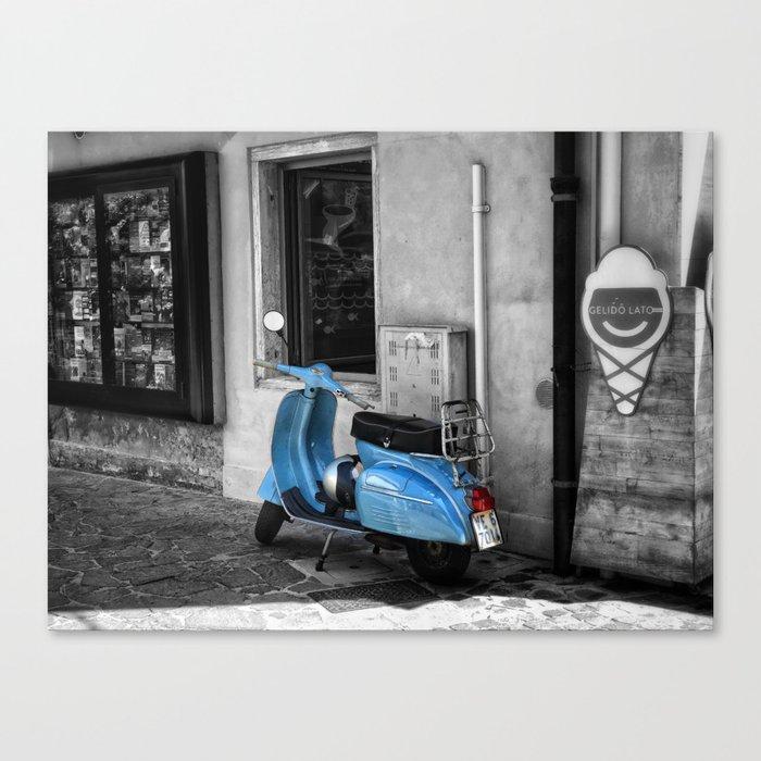 Blue Vespa In Venice Black And White Color Splash Photography Canvas Print