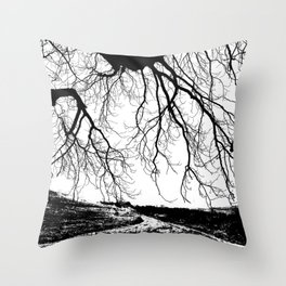 """Photography of Nature"" Dirt Road with overhanging Horse Chestnut Branches in Winter at Piliscsev Throw Pillow"
