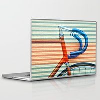 striped Laptop & iPad Skins featuring Standard Striped Bike by Fernando Vieira