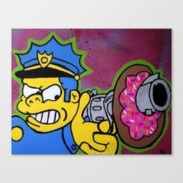 Chief Wiggum Shootin Donuts Canvas Print