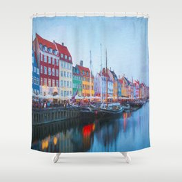 The Quay at Nyhavn, Copenhagen, Denmark Shower Curtain