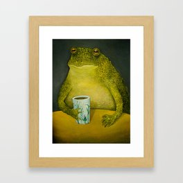 Toad's morning cup Framed Art Print