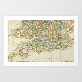 England and Wales Vintage Map Art Print