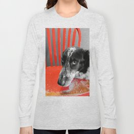 Border Collie in Red Long Sleeve T-shirt
