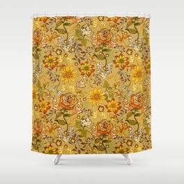 Rose vintage inpsired retro, warm colors 70s, boho Shower Curtain