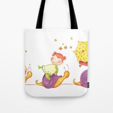 Babies in a snails Tote Bag