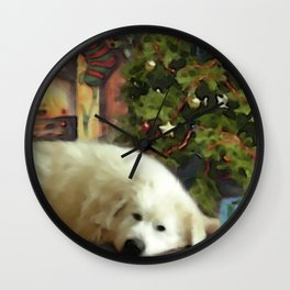 Great Pyreees Chrismas Wall Clock