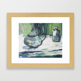 Greenery painting acrylic, abstract illustration painting,modern minimal Framed Art Print
