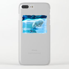 The Encounter - A Polar Bear & Penguin Fantasy Clear iPhone Case