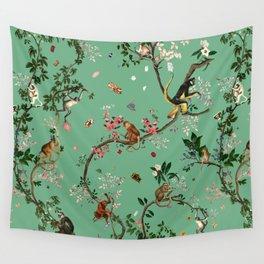 Monkey World Green Wall Tapestry