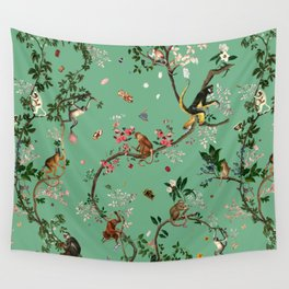 Monkey World Green Wall Tapestry