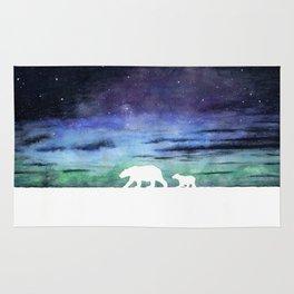 Aurora borealis and polar bears (white version) Rug