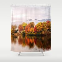 north carolina Shower Curtains featuring Lake Junaluska, North Carolina by Mary Timman