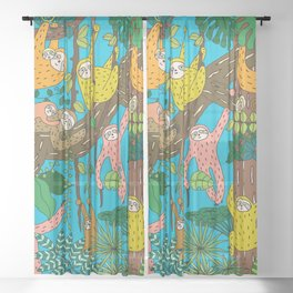 Happy Sloths Jungle Sheer Curtain