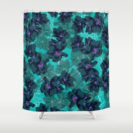 Hibiscus Blue Shower Curtain