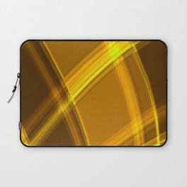 Smooth yellow curved lines with bright luminous nets of intersecting stripes.  Laptop Sleeve