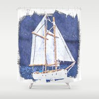 sailboat Shower Curtains featuring Sailboat by Michael P. Moriarty