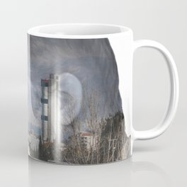 Angry shouting man face on cityscape Coffee Mug