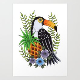 Tropical Toucan Tattoo Art Print