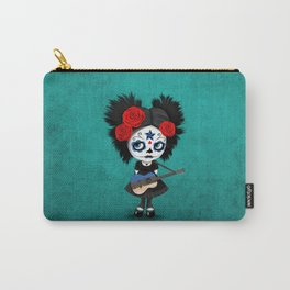 Day of the Dead Girl Playing Estonian Flag Guitar Carry-All Pouch