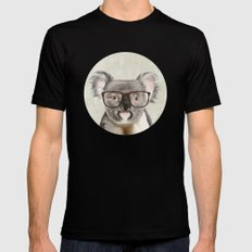 A baby koala with glasses on a rustic background Mens Fitted Tee Black MEDIUM