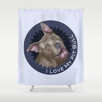 pit bull Shower Curtains featuring I ❤ My Pit Bull by Art by Nik