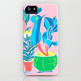 Perky Plants - Pink Blue Multi iPhone Case
