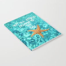 Not all Stars belong to the Sky- Aqua blue Sea Beach Summer Starfish on #Society6 Notebook