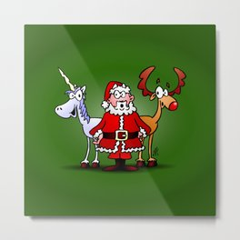 Santa Claus, his reindeer and a unicorn Metal Print