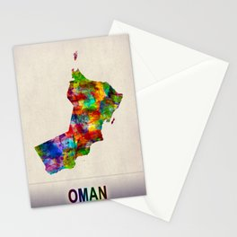 Oman Map in Watercolor Stationery Cards