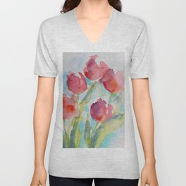 Tulips (watercolor) Unisex V-Neck