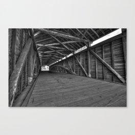 Barrackville Covered Bridge Architecture - Black and White Canvas Print