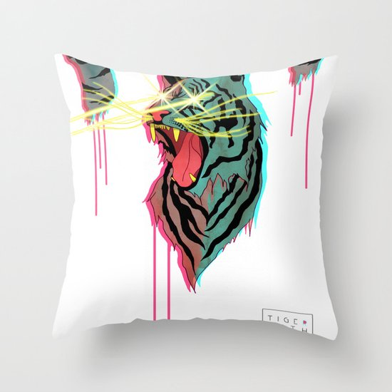 Tiger With F**king Lazers Throw Pillow