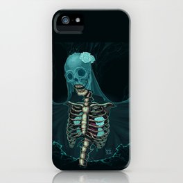 Skeleton with veil and white roses iPhone Case