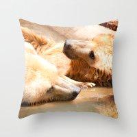 bears Throw Pillows featuring Bears by Sylvia C