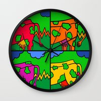 cows Wall Clocks featuring Cows by Stefan Stettner