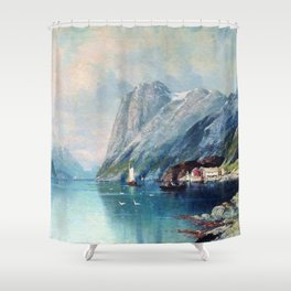 Fjord In Norway 1899 By Lev Lagorio | Reproduction | Russian Romanticism Painter Shower Curtain