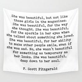 She Was Beautiful, F. Scott Fitzgerald, Quote Wall Tapestry