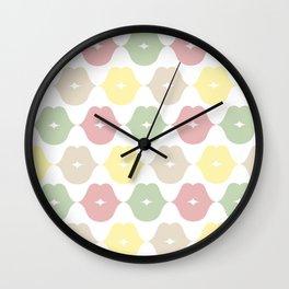 Green pink brown and yellow Wall Clock