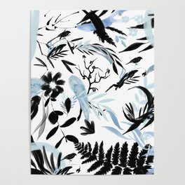 Hand painted black blue watercolor koi fish floral Poster