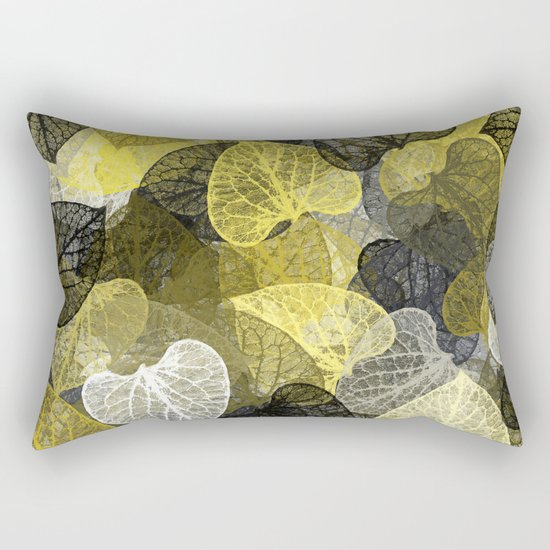 Black & Gold Leaf Abstract Rectangular Pillow