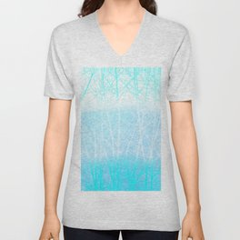 Frosted Winter Branches in Misty Blue Unisex V-Neck