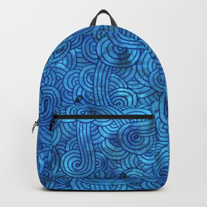 Turquoise blue swirls doodles Backpack