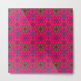 Boho Pinks Retro Flower Pattern Metal Print